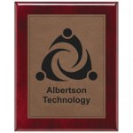 Leatherette Dark Brown Plate and Rosewood Piano Finish Plaque Leatherette Plaques