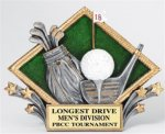 Golf - Diamond Plate Resin Trophy Longest Drive - Closest to the Pin - Putting Award
