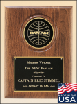American Walnut Plaque with 4 Medallion Recognition Plaques