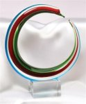 Red, Blue and Green Circle - Art Glass Sculpture Multi-Color Art Glass