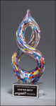 Helix-Shaped Art Glass Sculpture Multi-Color Art Glass