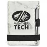 White Marble  Finish Leatherette Mini Note Pad / Pen   Office Items
