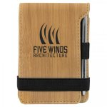 Bamboo Finish Leatherette Mini Note Pad / Pen  Office Items