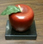 Wooden Apple on Marble Base Paperweights
