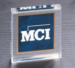 Marble Center Square Acrylic - Sapphire Paperweights