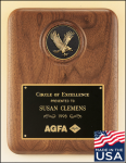 American Walnut Plaque with Eagle Medallion Patriotic and Military