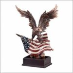 Eagle and American Flag - Bronze Resin Sculpture Patriotic and Military