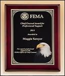 Rosewood Piano Finish Plaque with Eagle Head Plate Patriotic and Military