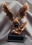 Eagle with American Flag - Bronze Resin Sculpture Patriotic and Military