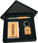 Silver/Wood Finish Gift Set Pens and Cases