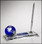 Crystal Pen Set with Blue Globe Pens, Cases, Sets and Letter Openers