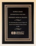 Black Piano Finish Plaque with Gold and Black Embossed Frame Piano Finish Plaques - Black