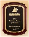 Notched Corner Rosewood Piano Finish Plaque with Florentine Border Piano Finish Plaques - Rosewood
