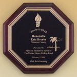 Octagonal Rosewood Piano Finish Plaque Piano Finish Plaques - Rosewood