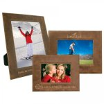 Leatherette Photo Frame - Rustic/Gold Picture Frames and Gifts
