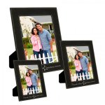 Leatherette Photo Frame - Black/Metallic Silver   Picture Frames and Gifts