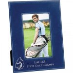 Leatherette Photo Frame - Blue/Metallic Silver Picture Frames and Gifts