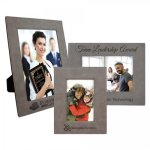 Leatherette Photo Frame - Gray/Black Picture Frames and Gifts