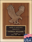 American Walnut Plaque with Eagle Casting Pinewood Derby and Scouts