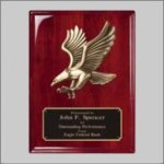 Rosewood Piano Finish Plaque with Eagle Casting Pinewood Derby and Scouts