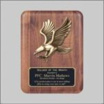 Solid American Walnut Plaque with Eagle Casting Pinewood Derby and Scouts