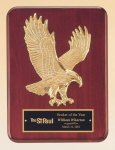 Rosewood Piano Finish Plaque with Gold Eagle Casting Pinewood Derby and Scouts