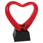 Red Glass Heart with Black Base   Pink Gift Items and Awards