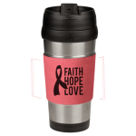 Leatherette Stainless Steel Travel Mug Pink Gift Items and Awards