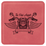 Pink Leatherette Beverage Coaster - Square Pink Gift Items and Awards