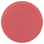 Pink Leatherette Beverage Coaster - Round Pink Gift Items and Awards