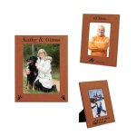 Leatherette Photo Frame - Rawhide/Black Pink Gift Items and Awards
