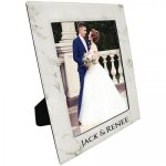 Leatherette Photo Frame - White Marble Finish/Black   Pink Gift Items and Awards