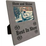 Leatherette Photo Frame with Engraving Area - GrayBlack  Pink Gift Items and Awards