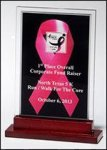 Pink Ribbon Acrylic Award with Rosewood Bse Pink Gift Items and Awards