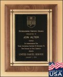 A Best Seller! Walnut Plaque with Antique Bronze Frame Plaques with Mounts Made in the USA