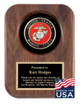 American Tribute Series Walnut Plaque - Marine Corps Plaques with Mounts Made in the USA