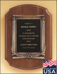 American Walnut Plaque with an Antique Bronze Casting Plaques with Mounts Made in the USA