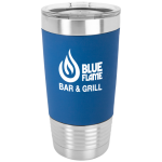 Blue/White Polar Camel Tumbler with Silicone Grip and Clear Lid  Promotional Items