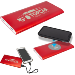 Red 8000MAH Power Bank & Wireless Anodized Aluminum Charger Promotional Items