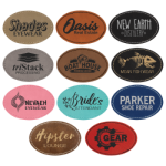 Oval Laserable Leatherette Patch with Adhesive - 3x2 Promotional Items
