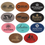 Oval Laserable Leatherette Patch with Adhesive - 3.5x2.5 Promotional Items