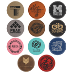 Round Laserable Leatherette Patch with Adhesive  - 3 Promotional Items