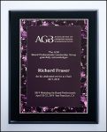 Black High Luster Plaque with Violet Border Plate Purple Gift Items and Awards