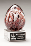 Egg-Shaped Burgundy and White Art Glass Award Red Art Glass