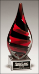 Helix Art Glass Award with Clear Glass Base Red Art Glass