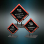 Red Acrylic Art Plaque with Iron Stand Red Colored Acrylic Awards