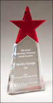 Red Crystal Star on Clear Crystal Base Red Optical Crystal Awards
