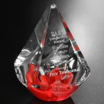 Red Quatro Pyramid Red Optical Crystal Awards