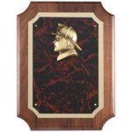 Fireman Casting on Red Marble Walnut Plaque Relief Cast Plaques
