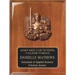 Walnut Piano Finish Plaque with Justice Casting Relief Cast Plaques